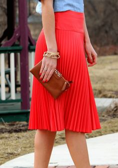Love this Coral Pleated Skirt! And such a good price