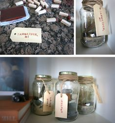 a cheap and decorative way to remember your trips..  Store rocks, dirt, shells, ect. in jars.  Label using twine, and stamps.