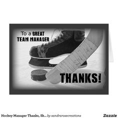 Hockey Manager Thanks, Skates, Stick and Puck