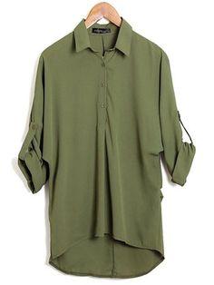 Casual Batwing Lapel Long Sleeve Chiffon Women's Blouse - Newchic Fashion Tops