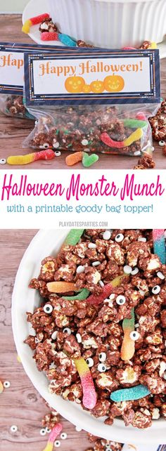 Chocolate covered popcorn munch with candy eyes and sour gummy worms is perfect for your Halloween get together. Add the free printable bag toppers so kids can take some home in their goody bags, too!
