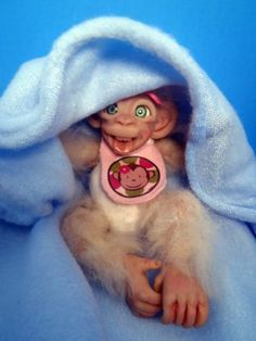 OOAK Baby Monkey Hand Sculpted polymer clay poseable SBD Art Doll