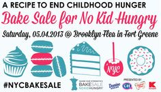 4th Annual Food Blogger Bake Sale - Share Our Strength's mission is to encourage Americans to host bake sales within their communities to support the No Kid Hungry® Campaign and to end hunger by 2015. In New York City, that means the 4th Annual NYC Food Blogger Bake Sale on Saturday, May 4th, 10am – 5 pm at the Brooklyn Flea. List of participants and their contributions : hungryrabbitnyc