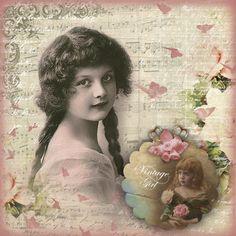 niña vintage con trenzas en tonos rosas