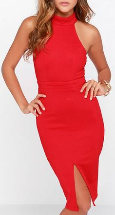 It would take days to talk up all your best qualities, so instead, show them off in the Outstanding Features Red Midi Dress! This midi dress has as many lovable features as you do, with a thick halter neckline, open back with double straps, and a princess seamed bodice. The solid athletic mesh knit enhances every inch of the bodice, and also amplifies the bodycon skirt, with subtle darts and a center slit on the bottom hem.  #lovelulus