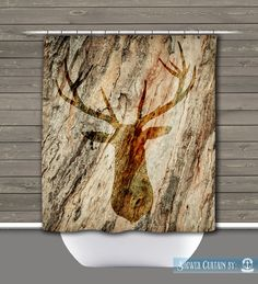 Deer Head Shower Curtain: Rustic Lodge Outdoors Cabin Wilderness | Made in the…