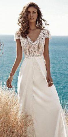 Absolutely Gorgeous Destination Wedding Dresses ★ destination wedding dresses a line with cap sleeves boho v neckline fabienne alagama