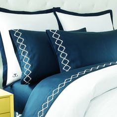 Buy Jill Rosenwald Hampton Links Embroidered Sheet Set in Navy from Bed Bath & Beyond
