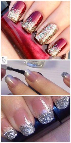 Chistmas Nails, Diy Christmas Nail Art, Holiday Nail Art, Xmas Nails, Christmas Nail Art Designs, Christmas Toes, Christmas Glitter, Fingernail Designs, Diy Nail Designs