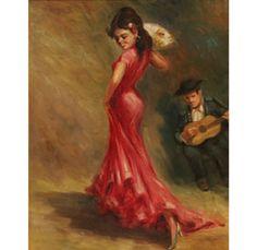 "Italian, L. Sarnini, Flamenco dancer oil on canvas; 19\"" x 15\""; SLR."