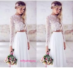 Hot Sale Two-pieces Crop Top White Wedding Dresses,
