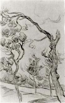 Pine Trees Seen against the Wall of the Asylum - Vincent van Gogh
