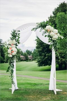 Simple Peach and White Wedding Arch. What a beautiful wedding arch decoration id… Simple Peach and White Wedding Arch. What a beautiful wedding arch decoration idea! White Wedding Arch, Metal Wedding Arch, Wedding Arbors, Wedding Arch Flowers, Wedding Ceremony Arch, Wedding Canopy, Garden Wedding, Floral Wedding, Trendy Wedding