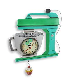 Allen Designs Green Vintage Kitchen Mixer Wall Clock with Cupcake Pendulum $64.00