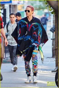 Jared Leto Repeats His Colorful Poncho & Pants Outfit