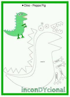molde para hacer a george pig en - Ahmet Dede Molde Peppa Pig, Bolo Da Peppa Pig, Dinosaure Peppa Pig, Peppa E George, George Pig Cake, George Pig Party, Peppa Pig Dress, Pig Costumes, Quiet Book Templates