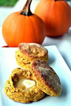 Fluffy Vegan Pumpkin Biscuits -- seems like it'd be easy to swap in g-free flour