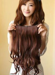 22'' 1Piece Bright Brown Wavy Human Hair Clip In Full Head Set