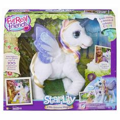 FurReal Friends StarLily, My Magical Unicorn The pet of any girl's dreams is here: the StarLily, My Magical Unicorn toy! StarLily is a beautiful young unicorn Unicorn Stuffed Animal, Magical Unicorn, Christmas Wishes, Christmas Gifts, Christmas Ideas, Christmas 2015, Holiday, Toys R Us, Real Friends