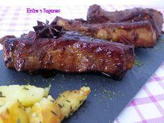 Costillas de Cerdo a la Miel Steak, Bbq, Easy Meals, Pork, Tasty, Cooking, Diet Ideas, Comic, Salads