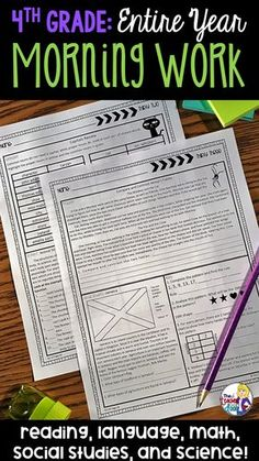 This Morning Work resource for fourth graders is a comprehensive, unique type of morning work, because it is a full page per day and it includes EVERY 4th grade Common Core standard for reading, language, and math, as well as social studies and science too!  It is a no-prep, easy to use tool for busy teachers to target common core and NGSS standards that spiral throughout the year. It includes engaging topics and a variety of formats throughout the year.