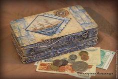 """Шкатулка-купюрница """"Дальние странствия"""" - синий,морская,море,путешествия"""