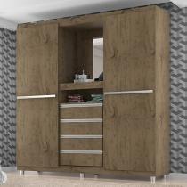 Guarda-roupa Casal 2 Portas 4 Gavetas Penteadeira - Araplac 1642-88 com espelho