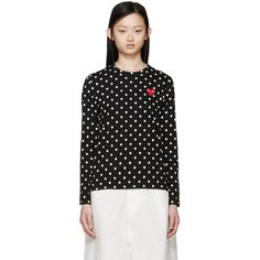 Comme des Gar�ons Play Black Polka Dot Heart Patch T-Shirt ($140) ❤ liked on Polyvore featuring tops, t-shirts, embroidered top, long sleeve crew neck tee, polka dot t shirt, heart tee and longsleeve t shirts
