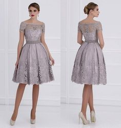 AbaoWedding Women's Lace Applique Knee Length Formal Mother Dress Size 16 Silver-Gray
