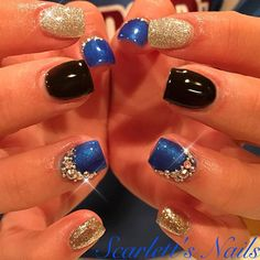 Royal blue black and silver short square gel nails with genuine pictures of crystals Silver Acrylic Nails, Blue And Silver Nails, Blue Gel Nails, Royal Blue Nails, Gel Nail Colors, French Tip Gel Nails, Gel Nail Tips, Bling Nails, Fun Nails