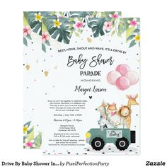 Shop Drive By Baby Shower Invitation Safari Baby Shower created by PixelPerfectionParty. Baby Shower Parties, Baby Boy Shower, Baby Shower Gifts, Baby Party, Baby Shower Invitation Wording, Invitation Cards, Sunshine Baby Showers, Virtual Baby Shower, Baby Shower Decorations For Boys