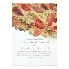 Elegant Fall Leaves and Glitter Wedding Card - tap to personalize and get yours #wedding #invitation #weddingideas #weddinginspiration #botanical #outdoor #nature #romantic #editable #autumn