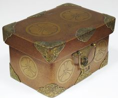 A beautiful antique Edo period Japanese lacquer small storage box or casket dating from the mid-19th century. The casket has very finely engraved gilt copper mounts to the corners and drop handles which would probably have been threaded with cord to carry the box. | eBay!