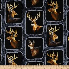 Wild Wings Wintergreen Deer Frames Blue from @fabricdotcom  Designed by Persis Clayton Weirs for Springs Creative Products Group, this cotton print is perfect for quilting, apparel and home decor accents. Colors include shades of brown, black, grey, and white.