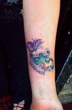 "Ink4Autism - Wendy Hanlon's Ink4Autism ""My new tattoo for my daughter Savannah who has Autism. I love butterflies too and added that as a symbol of my protection over her. Nicky KarmaTattoos Arnold did an amazing job!"""