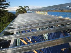 Boxspan steel roof frame over a timber wall frame.