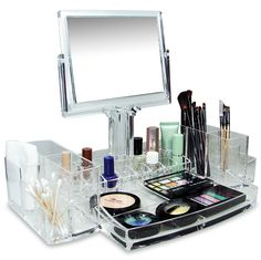 Incroyable Ikee Design Luxury Cosmetic Makeup Acrylic Organizer With Two Sided Mirror