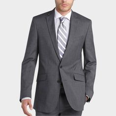 Kenneth Cole Reaction Black and White Tic Weave Slim Fit Suit - Slim Fit   Men's Wearhouse