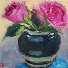 """Daily Paintworks - """"Pink Roses in Ceramic vase"""" by Azra Iqbal"""