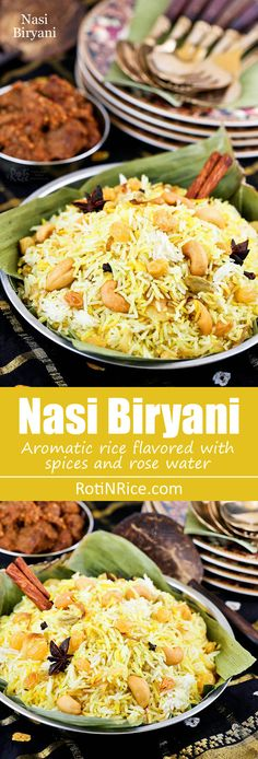 Fragrant and tasty Nasi Biryani flavored with spices and rose or kewra water. This aromatic rice is the base for all your meat biryanis. | RotiNRice.com