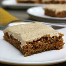 Maple Cinnamon Sweet Potato Bars Recipe Desserts with sweet potatoes, eggs, canola oil, sugar, sweet potatoes, flour, baking powder, baking soda, cinnamon, ginger, clove, nutmeg, cream cheese frosting, unsalted butter, cream cheese, powdered sugar, maple extract, pure maple syrup, cinnamon