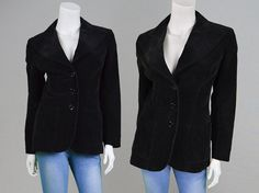 Vintage 70s Cord Jacket Womens Blazer Black by ZeusVintage on Etsy
