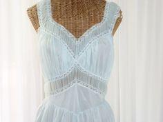 Gotham Gold Stripe 1950s Blue Wispier Gown by Voilavintagelingerie