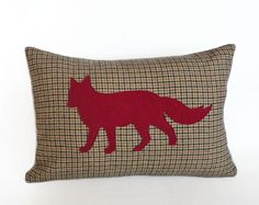Red Fox Pillow Tan Brown Plaid Throw Pillows by PillowThrowDecor, $36.00