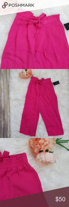 a5d4716877 NWT Zara Fuchsia Paperbag Waist Culottes Pants Hot Pink fuchsia cropped  trousers culottes with tie at