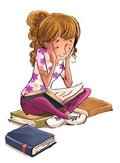 Girl reading books Cute cartoon wallpapers Girl reading book Girl reading