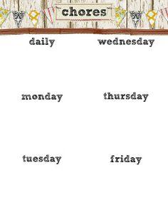 Free printable chore chart--very stylish!