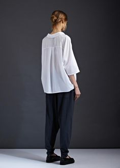 boxy shirt with back pleat detail