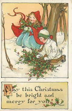 """Vintage Christmas Postcard ... """"May this Christmas be Bright and Merry for you"""""""