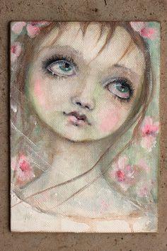 original girl child portrait sweet primitive rose by fadedwest, $59.00